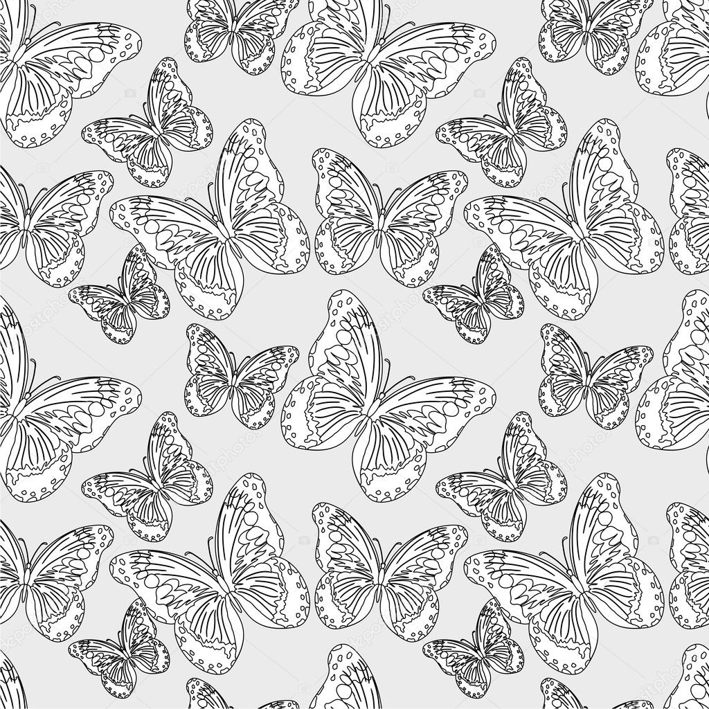 Seamless  pattern with silhouettes colorful butterflies (vector) — Stock Vector #12403197
