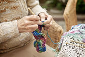 Woman Kntting — Stock Photo