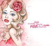 Watercolor fashion illustration — Stock Photo