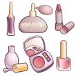 Stok Vektör: Vector set of cosmetics