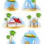 Beach of island. Summer set — Stock Vector #11397216