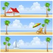 Beach of island. Summer set — Stock Vector