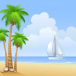 Beach of island — Stock Vector
