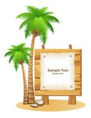 Palm trees and wooden sign — Stock Vector