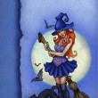 Halloween greeting card with witch — Stock Photo #11458148