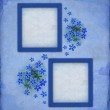 Vintage blue photo frames with watercolor flower — Stock Photo #11458168