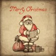 Christmas greeting card with illustration of Santa Claus — Stock Photo