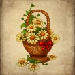 Greeting card with basket of flowers — Stock Photo