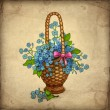 Old greeting card with basket of flowers — Stock Photo #11458970