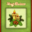 Stock Photo: Greeting card with drawing of christmas decorations
