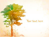 Background with watercolor tree — Stock Photo