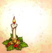 Greeting card with drawing of candle and holly berry — Stock Photo