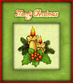 Greeting card with drawing of christmas decorations — Stock Photo