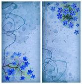 Oude kaarten met aquarel bloemen — Stockfoto