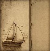 Hintergrund mit illustration von segelboot — Stockfoto