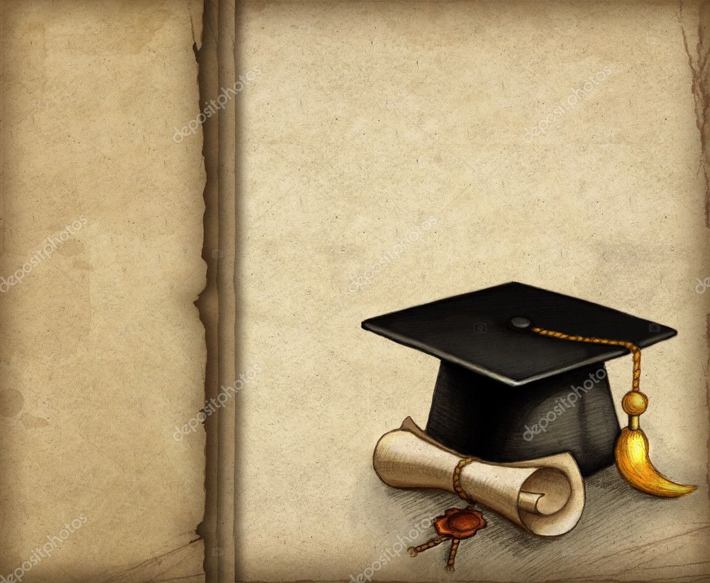 Background with drawing of graduation cap and diploma — Stock Photo ...