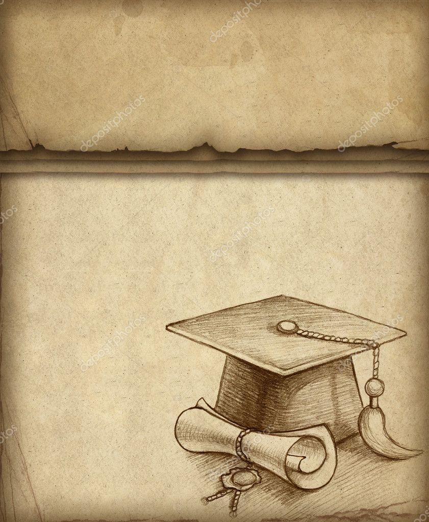 Fundo com desenho de chapéu de formatura e diploma — Stock ... Vintage Graduation Cap