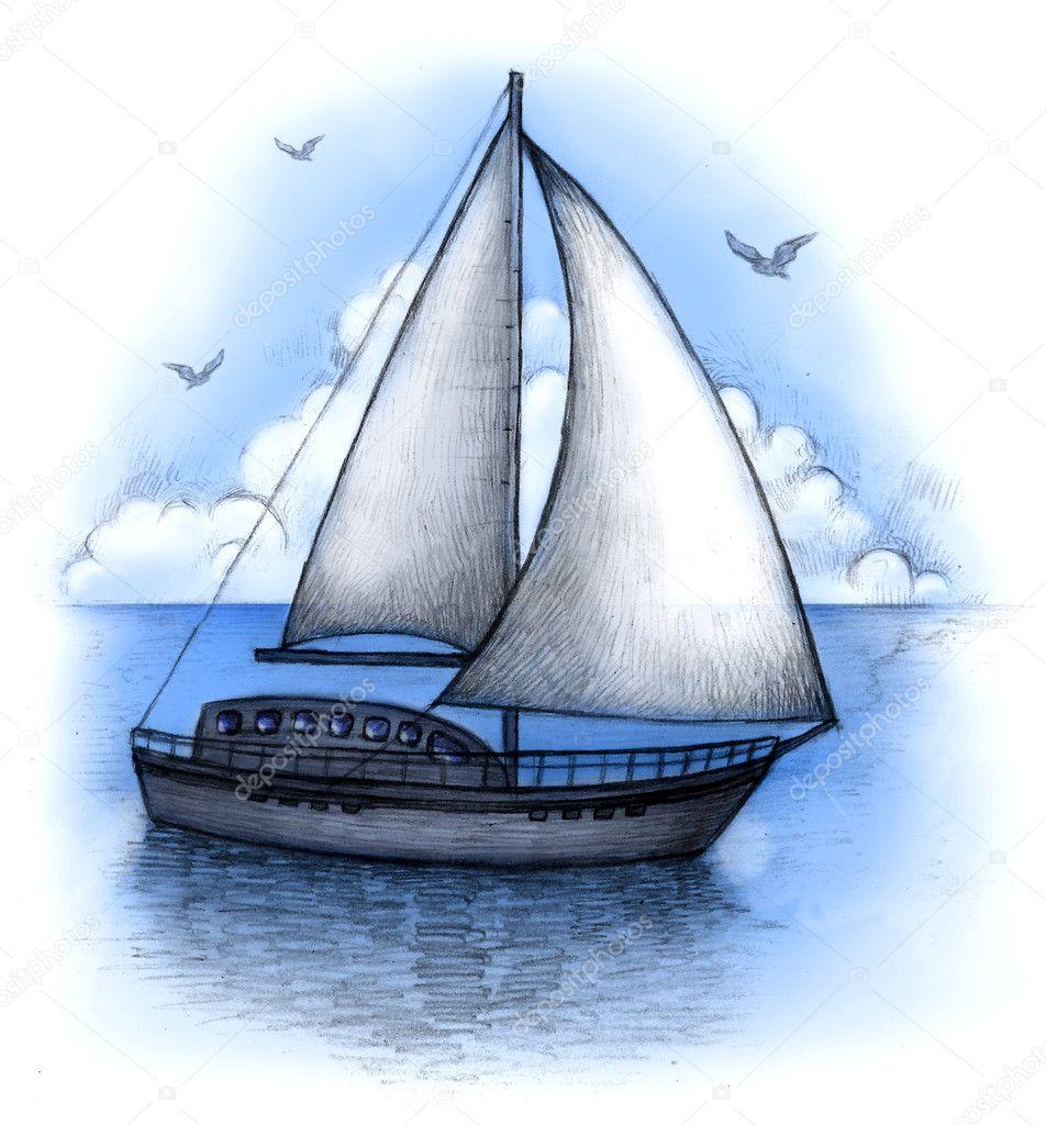 как нарисовать лодку с парусами