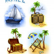 Foto Stock: Set of vacation illustrations