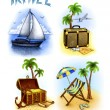Stock Photo: Set of vacation illustrations