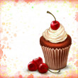 Cherry chocolate cupcake on watercolor background — Stock Photo