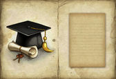 Old paper with drawing of graduation cap and diploma — Stock Photo