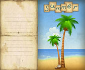 Illustration of summer beach with palms — Stock Photo