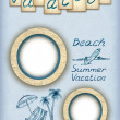 Background with photo frames and vacation illustrations — Stock Photo