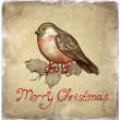 Christmas greeting card with illustration of bullfinch — Stock Photo #11540888