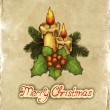 Greeting card with drawing of christmas decorations — Stock Photo #11540912