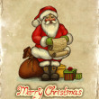 Stock Photo: Christmas greeting card with illustration of Santa Claus