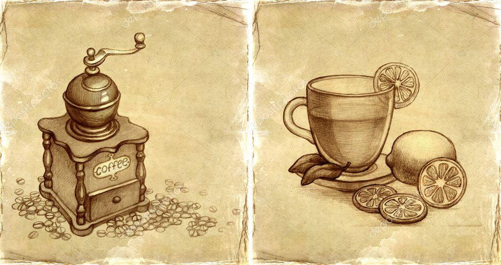 Рисунки с чаем кофе