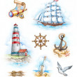 Set of nautical watercolor illustrations - Stock Photo
