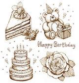 Sada narozeniny ilustrace — Stock fotografie