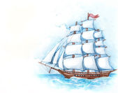 Watercolor illustration of ship — Stock Photo