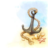 Watercolor illustration of anchor and shell — Stock Photo