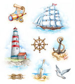 Set of nautical watercolor illustrations — Stock Photo