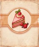 イチゴとケーキのイラスト — ストック写真