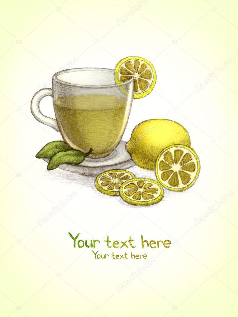 Dessin de coupe en verre de th au citron photographie for Utiliser un coupe verre