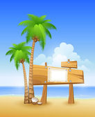 Summer beach with palms and wooden sign — Stock Vector
