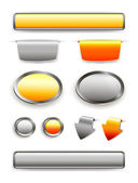 Orange and chrome web buttons. Vector set — Stock Vector