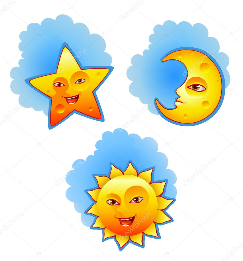 Vector illustration of sun, moon and star  — Stock Vector #11556464