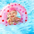 Child sitting on inflatable ring in swimming pool. — Stok fotoğraf