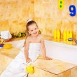 Stock Photo: Child bathing in bubble bath .