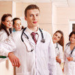 Group doctors at reception in hospital. — Stock Photo #11295048