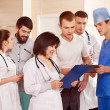 Group doctors at reception in hospital. — Foto Stock