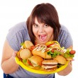 Woman holding hamburger. — Stock Photo #11295341