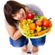 Girl weight loss on scales. — Stock Photo #11295346