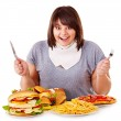 Woman eating fast food. — Stock Photo #11295354