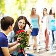 Couple of teenager on date outdoor. — Stock Photo #11295434